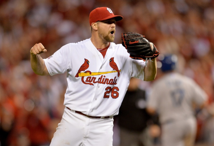ST LOUIS, MO - OCTOBER 06: Trevor Rosenthal #26 of the St. Louis Cardinals reacts as he gets the final out as the Cardinals defeat the Los Angeles Dodgers 3-1 in Game Three of the National League Division Series at Busch Stadium on October 6, 2014 in St Louis, Missouri. (Photo by Michael Thomas/Getty Images)